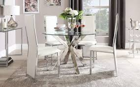 round chrome and glass dining table
