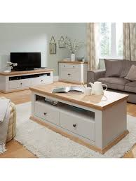 easton 2 drawer coffee table grey oak