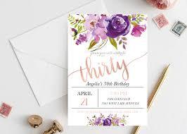 30th Birthday Invitation Floral 30th Birthday Invitation
