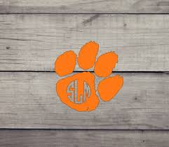 Clemson Tiger Paw Vinyl Decal Name Or Monogram Auto Yeti Clemson University Ebay