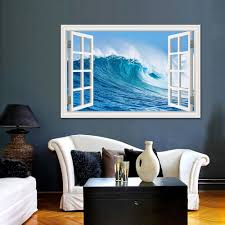 3d Large Decal Wall Sticker Wall Pictures For Living Room Bathroom Sea Wave Seascape Window View Vinyl Wallpaper Home Art Decor Buy At The Price Of 7 19 In Aliexpress Com Imall Com