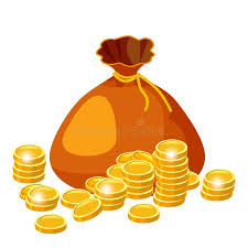 Cartoon Big Old Bag With Gold Coins Jewelry. Cash Prize Vector ...