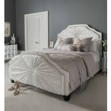 Kingsize Aurora White Fabric Crushed Velvet Bed | French Furniture