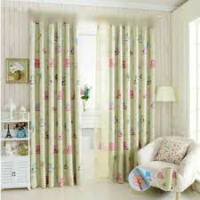 Ring Top Blackout Curtains Kids Room Lovely Cartoon Owl Print Sheer Tulle 1piece Ebay