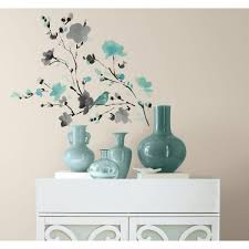 Roommates 5 In X 11 5 In Blossom Watercolor Bird Branch Peel And Stick Wall Decal Rmk2687scs The Home Depot