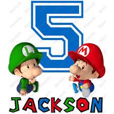 Baby Super Mario Luigi Birthday Personalized Custom T