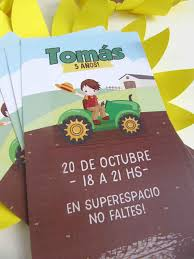 Invitacion Tractores Impresa Cumplekits