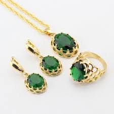 emerald gold color bridal jewelry sets