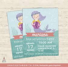 Invitacion Para Imprimir Sirena Magica Invitaciones