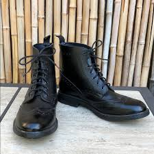 black leather oxford laceup boots mens