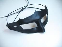 black leather men masquerade mask black
