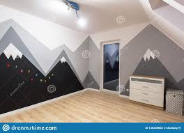 Kids Bedroom With Mountains Chalkboard Paint Stock Photo Image Of Property Refurbishment 130338602