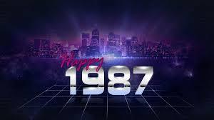 happy retro city skyline new year 1987