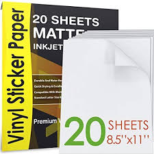 Agodeo Vinyl Sticker Paper Matte For Inkjet Printer 20 Sheets White Premium Printable Decal Paper Tear Scratch Resistant Quick Ink Dry Sticker Paper For Making Labels Crafts