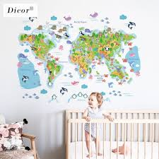 Hot Offer D902 Dicor 3 Kinds Cartoon World Map Wall Sticker Animals For Kids Room Nursery Diy Mural Creative Waterproof Decal Pvc Wallpaper New Cicig Co