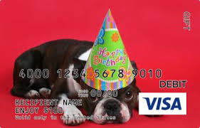 birthday pug visa gift card