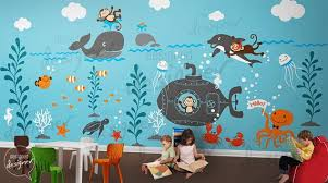 Underwater World Wall Decals Ocean Submarine Seahorse Turtle Dolphin Whale Wall Decal Wall Sticker Wall Mural Dd1056 Via Etsy 壁画 壁装飾 プレールーム