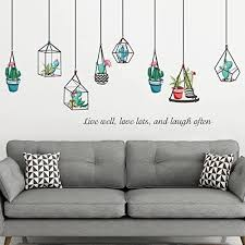 Amazon Com Huangliao Plants Cactus Hanging Geometric Pots Home Wall Stickers Decor Living Room Succulent Sticker Removable Vinyl Art Mural Decals Home Kitchen