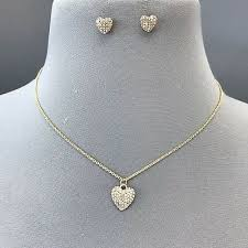 clear rhinestone heart pendant necklace
