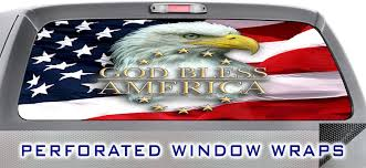 Amazon Com Patriot Flag 031 Window Wrap Flag With Eagle God Bless America Truck Car Rear Decal Sticker Arts Crafts Sewing