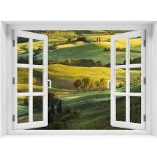 Window Wall Mural Beautiful Landscape Peel And Stick Fabric Illusion Royalwallskins