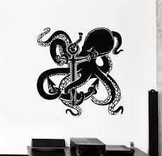 Vinyl Wall Decal Anchor Octopus Ocean Marine Sea Beach House Stickers Wallstickers4you