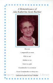 Memorial Brochure for Ada Katherine Scott Buehler, 2000 - Funeral ...