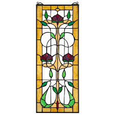 ruskin rose flower stained glass window