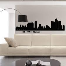 Amazon Com Wall Decals Vinyl Stickers Detroit Skyline Silhouette Michigan City Wall Decal Detroit Sticker Wall Art Home Decor For Living Room C006 Kitchen Dining