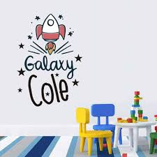 Personalized Name Space Rocket Wall Decal Sticker Nursery For Home Decor Krafmatics