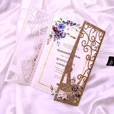 Invitacion De Boda De Corte Laser De Torre De Oro Rosa Con Cinta