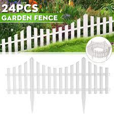 12 24 Pack White Vinyl Picket Garden Border Fence 24 48 Ft Long Garden Border Fencing Fence Pannels Outdoor Landscape Decor Edging Yard Walmart Com Walmart Com