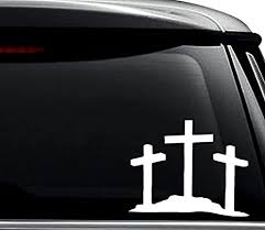 Amazon Com 3 Crosses Jesus Christian Decal Sticker For Use On Laptop Helmet Car Truck Motorcycle Windows Bumper Wall And Decor Size 8 Inch 20 Cm Wide Color Gloss White Arts Crafts Sewing