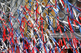 Full Frame Shot Of Ribbons Tied On Chainlink Fence In City High Res Stock Photo Getty Images