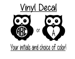 Monogrammed Owl 3 Vinyl Decal Tumbler Size Fits Wine Glass Any Color Sticker Ebay