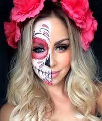 half sugar skull makeup for halloween