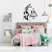 Amazon Com Bugs Bunny What S Up Doc Quote Looney Tunes Cartoon Wall Sticker Art Decal For Girls Boys Room Bedroom Nursery Kindergarten House Fun Home Decor Stickers Wall Art Vinyl Decoration Size 30x27