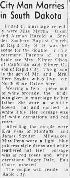 Harold Snyder - Myrna Olson Wed - Newspapers.com