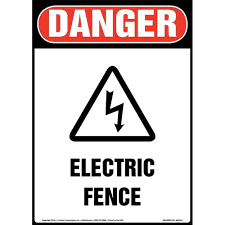 Danger Electric Fence Sign With Icon Osha Long Format