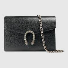 black leather dionysus mini chain bag