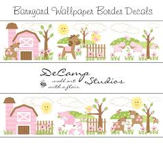 Horse Girl Wallpaper Border Wall Art Decals Barnyard Farm Animals Room Stickers