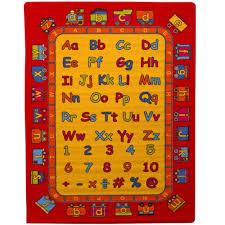 Mybecca Kids Children Educational Alphabet Train Area Rug 5 X 7 Children Area Rug For Playroom Nursery Non Skid Gel Backing 59 X 82