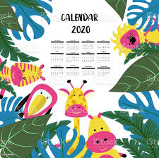 Calendar 2020 Children Tropical Style With Funny Cute Animals Zebra Giraffe And Hippo Characters Poster For The Kids Room Stock Illustration Download Image Now Istock