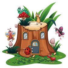 Wall Decal Nursery Mushroom House Tree House With Beetles Etsy
