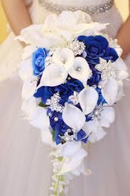 Janevini الأزرق الملكي الاصطناعي العروس الزهور شلال باقة الزفاف مع