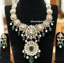 flat diamond emerald drops set by sri
