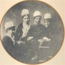 Nurses at the New York Hospital School for Nurses, 1881. The women  identified are: Sarah Bradley, Ada Stewart, Anna Van… | Nursing school,  History of nursing, Nurse
