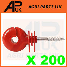 Apuk 25 X Diamond Black Screw Ring Insulators Electric Fence Post Wire Rope Fencing Fencing