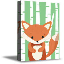 Awkward Styles Fox Canvas Prints Girls Room Animal Decor Cool Kids Room Fox Wall Art Fox