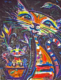Pin by Jacqueline Viljoen on Chats-chats-chats | Cat painting, Funky art,  Cat art